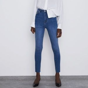 Zara High Rise Cropped Skinny Jeans Blue Denim 6